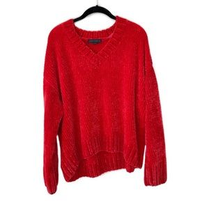 Sanctuary red soft chenille v neck sweater